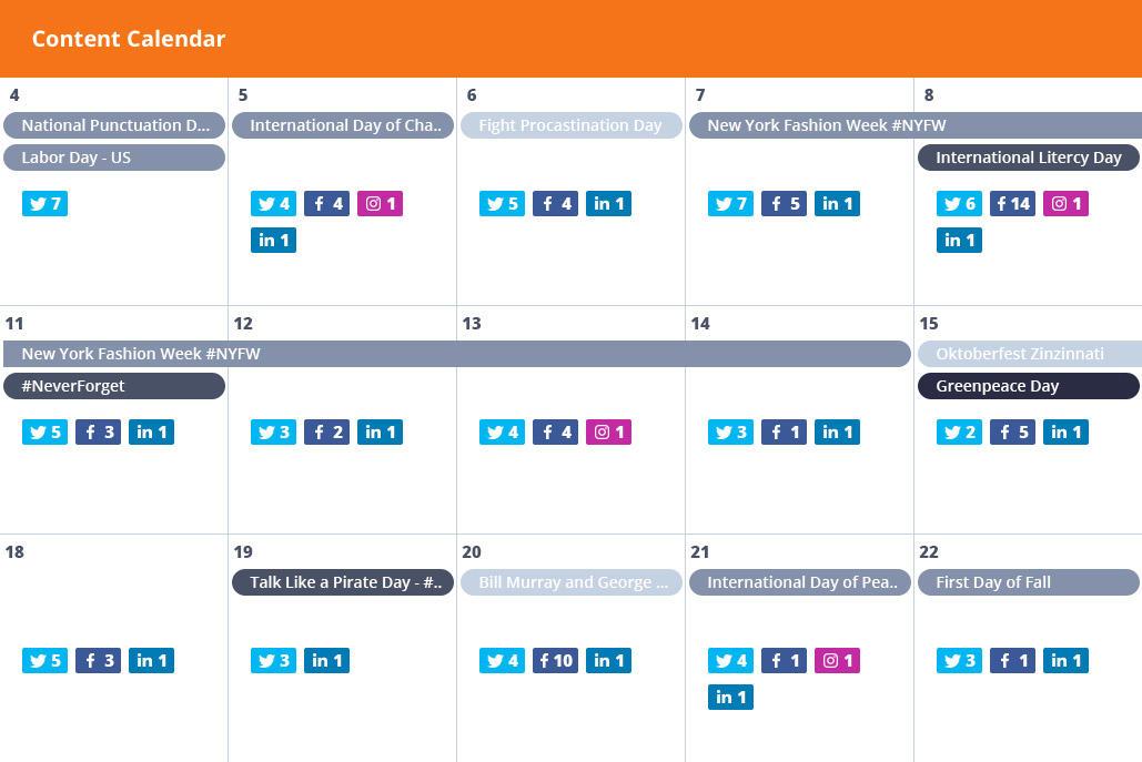 content calendar for facebook marketing