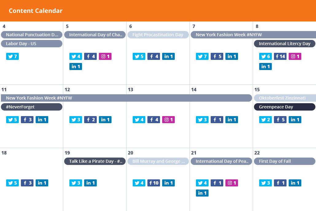 content calendar for facebook marketing