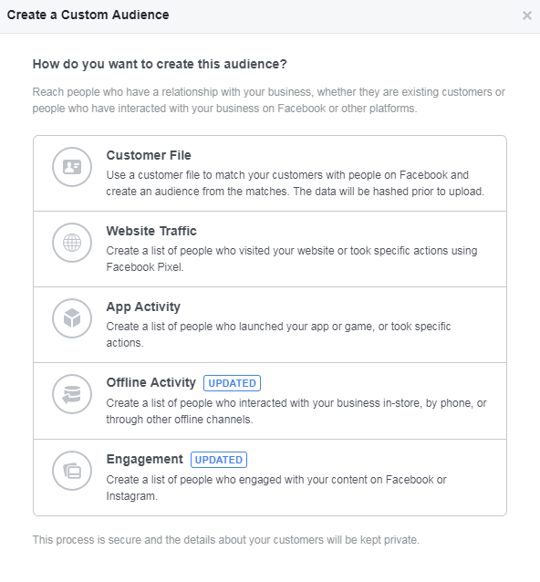 facebook custom audiences creation interface