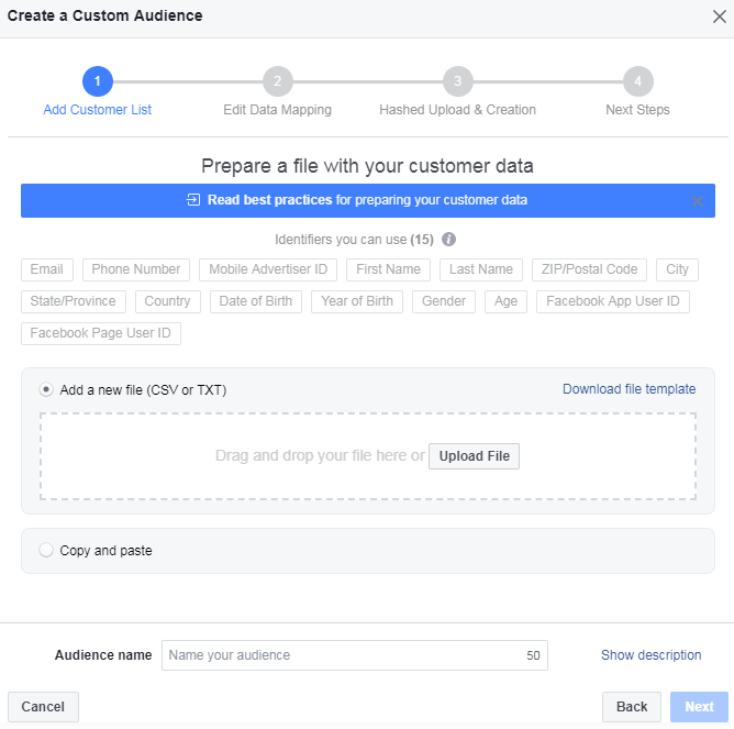 facebook custom audience permission tool