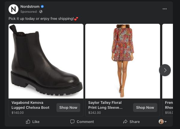إعلانات فيسبوك الديناميكية nordstrom