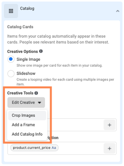 facebook dynamic product ads catalogue cards