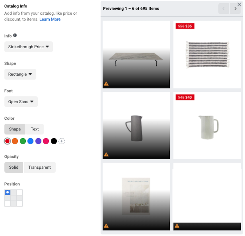 معلومات كتالوج إعلانات المنتجات الديناميكية لفيسبوك