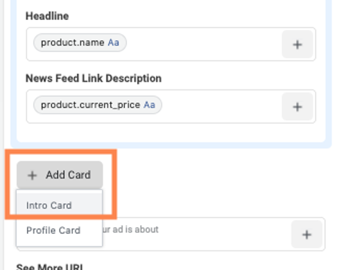 facebook dynamic product ads curated intro card