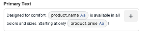 facebook dynamic product ads primary text