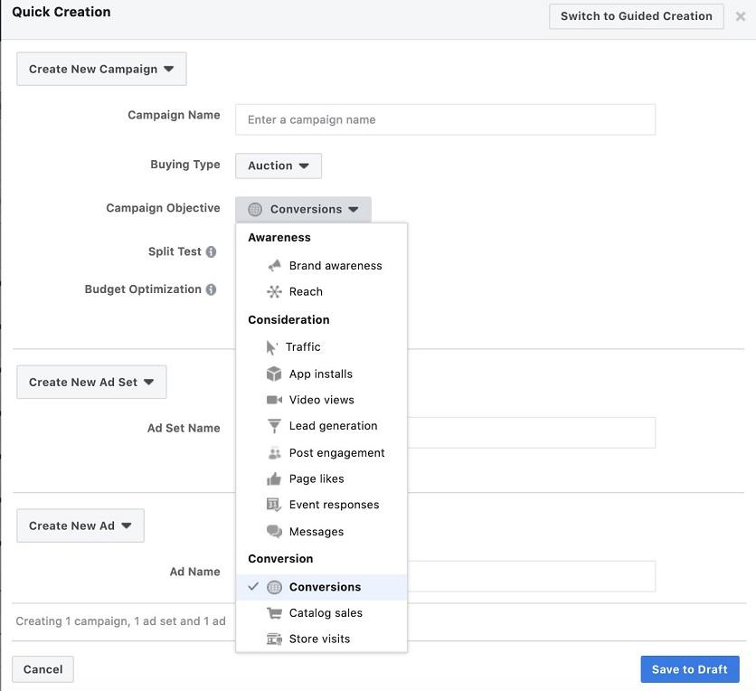create a campaign for Facebook ecommerce