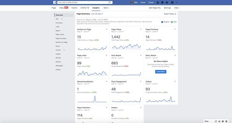 Facebook Insights metrics view