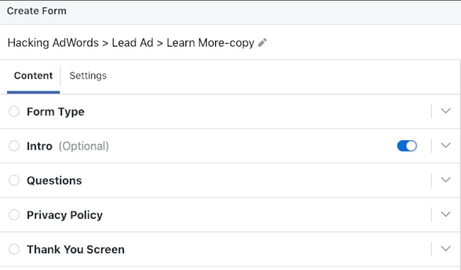 Facebook Lead Ads vs. Landing Pages Lead Form 2