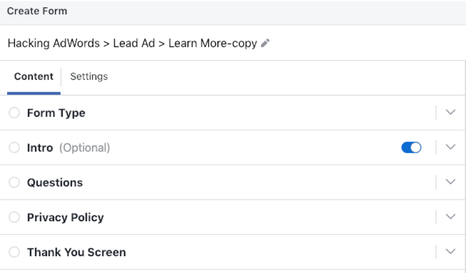 Facebook Lead Ads vs. Landing Pages Lead Form 2