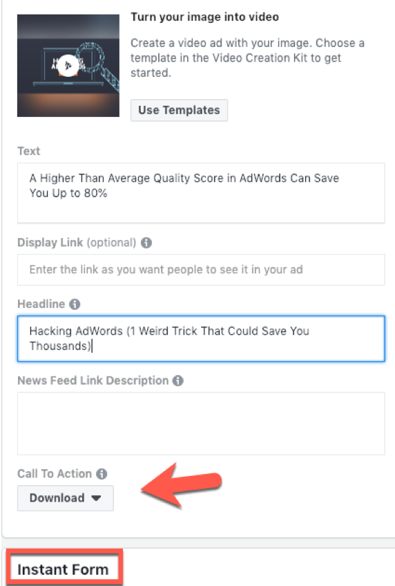 Facebook Lead Ads vs. Landing Pages Lead Ad
