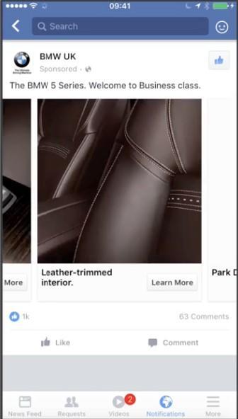 Facebook lleva anuncio BMW