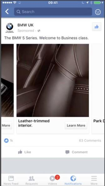 Facebook lead ad BMW