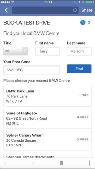 Facebook ejemplo de anuncio de plomo formulario de BMW