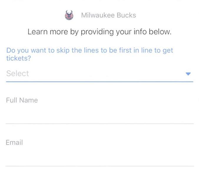 Facebook lead ad Milwaukee Bucks form