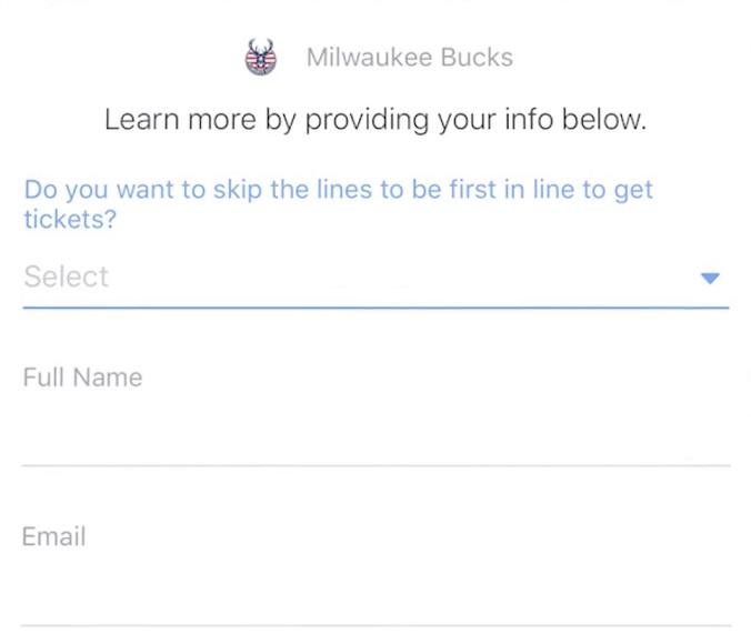 Facebook principal anuncio de Milwaukee Bucks forma