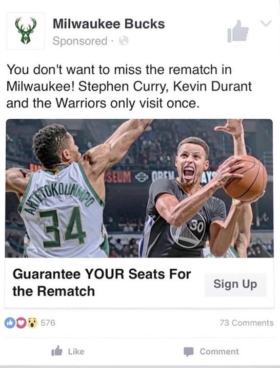 Facebook principal anuncio Milwaukee Bucks
