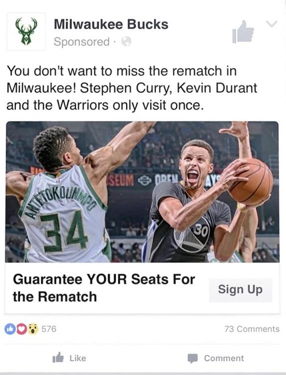 Facebook principal anuncio Milwaukee Bucks
