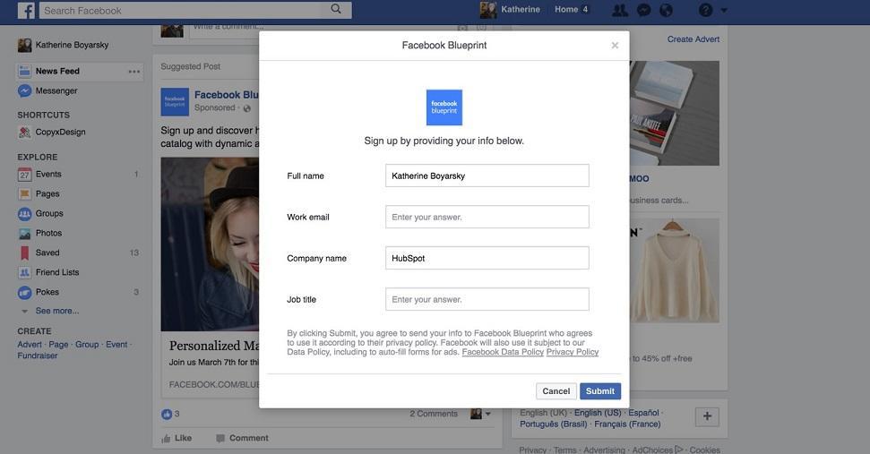 Formulario de registro de webinar de anuncios de Facebook