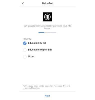 Formulario de Facebook MakerBot de anuncios principales