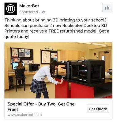 Facebook principal anuncio MakerBot