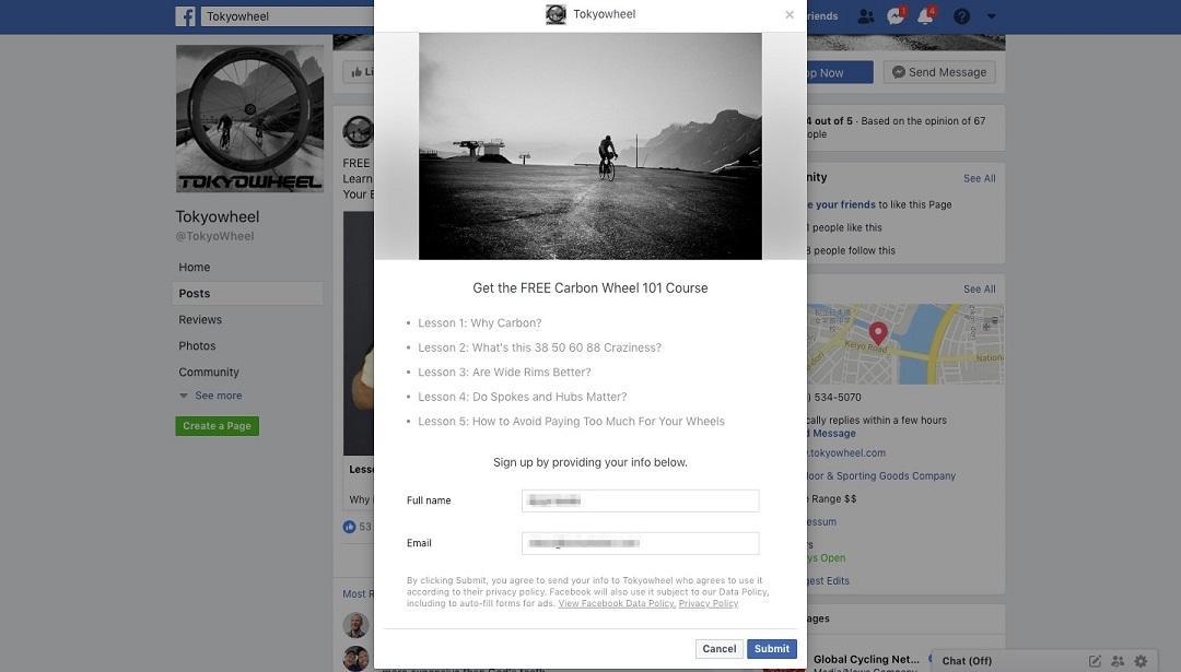 Facebook forma de anuncio Tokyowheel forma