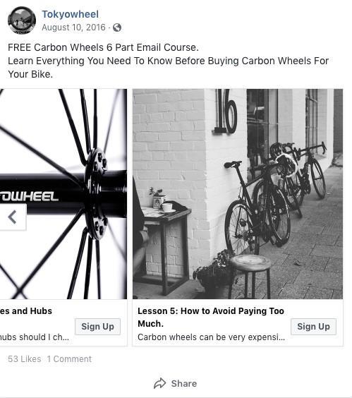 Facebook lead ad Tokyowheel