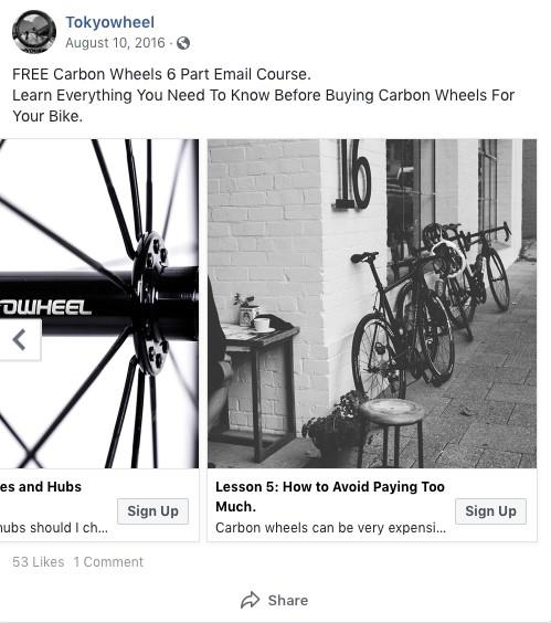 Facebook anuncio principal Tokyowheel
