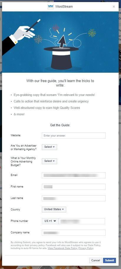 Formulario de WordStream de anuncios principales de Facebook