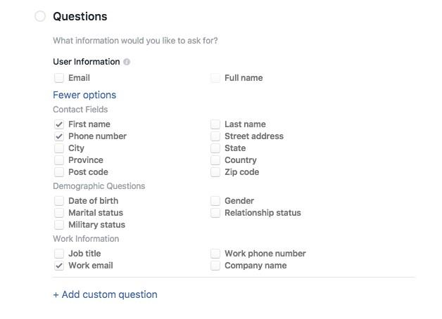 Facebook lead ads questions