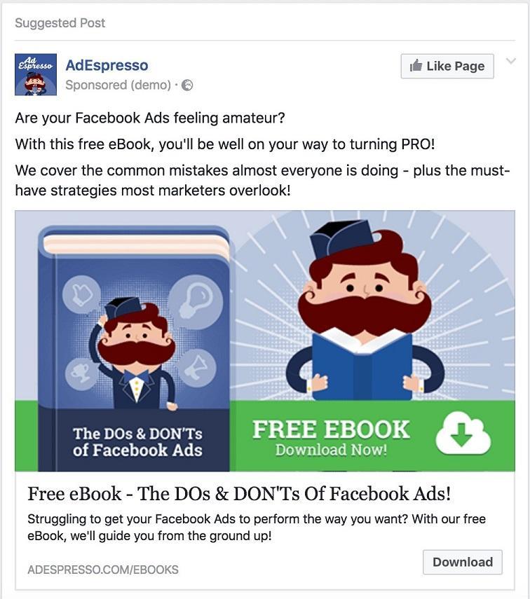 Facebook lead ad AdEspresso
