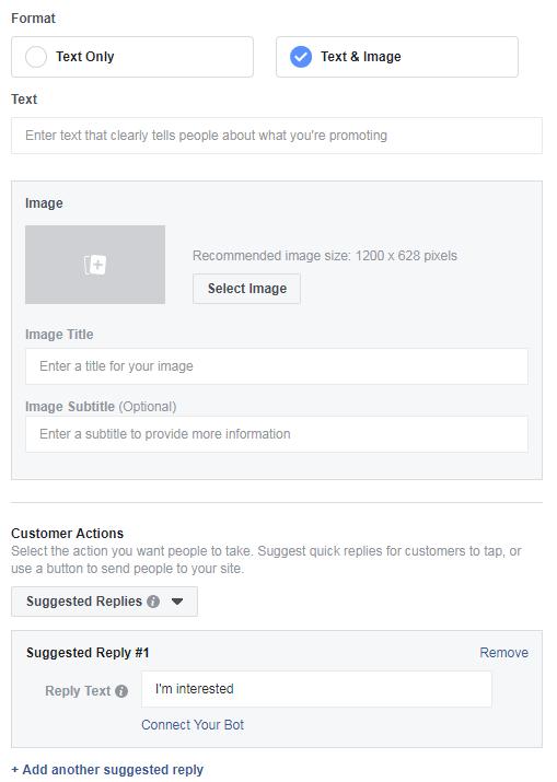 facebook message chatbot ad intergration