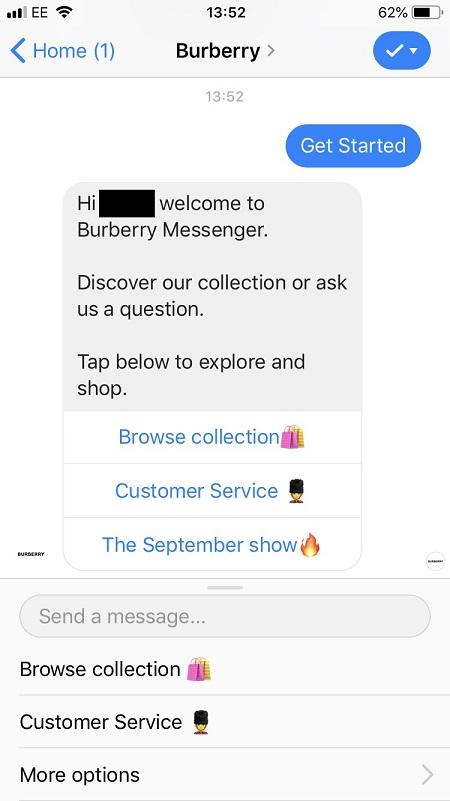 "Facebook messenger bots ""Browse Collection"" option"
