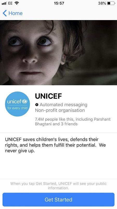 Facebook messenger bots misión de UNICEF