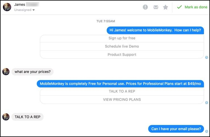 Facebook messenger with chatbot