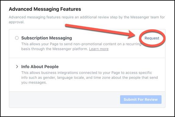 Facebook subscription messaging selection