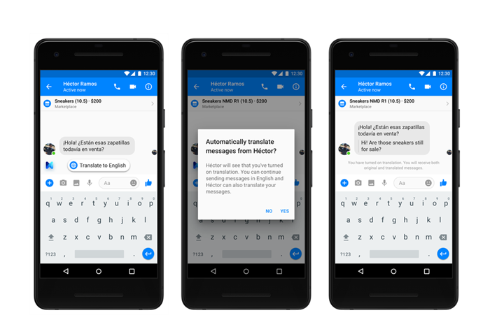 facebook messenger translation functionality