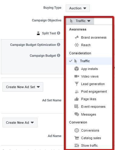 Facebook buying type options