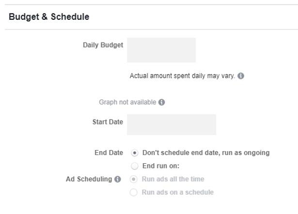 Facebook objectives budget and schedule settings