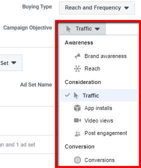Facebook campaign objectives options