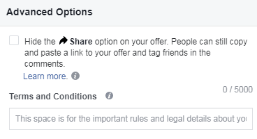 facebook offer ad hide share button