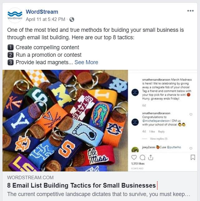 WordStream facebook post