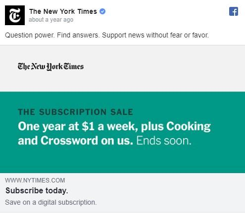 Facebook ad for New York Times
