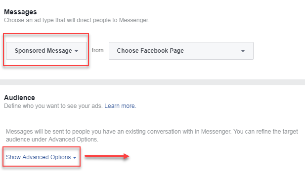 facebook message  ads advanced targeting options