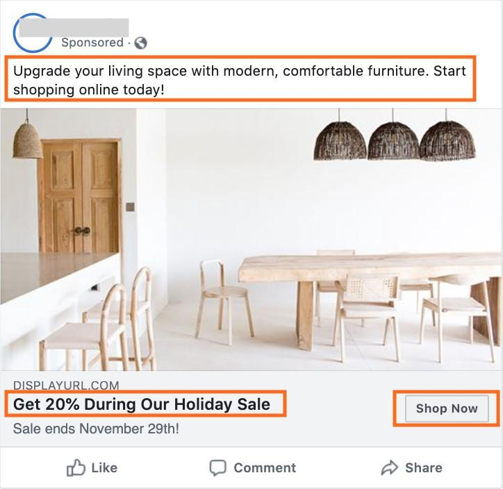 Facebook video marketing CTA example