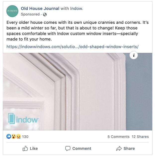 Indow Facebook ad