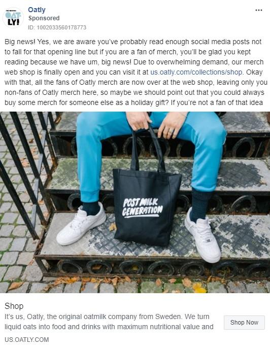 Oatly Facebook ad example