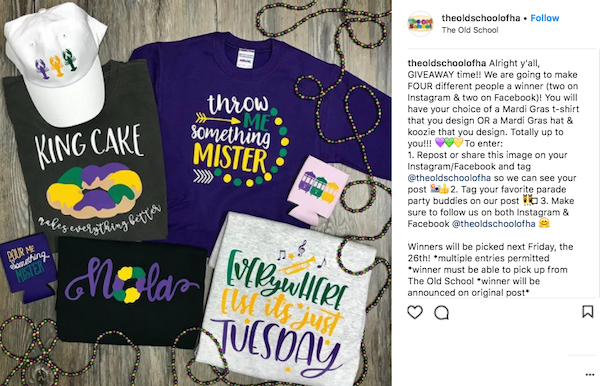 february marketing ideas mardi gras giveaway 2
