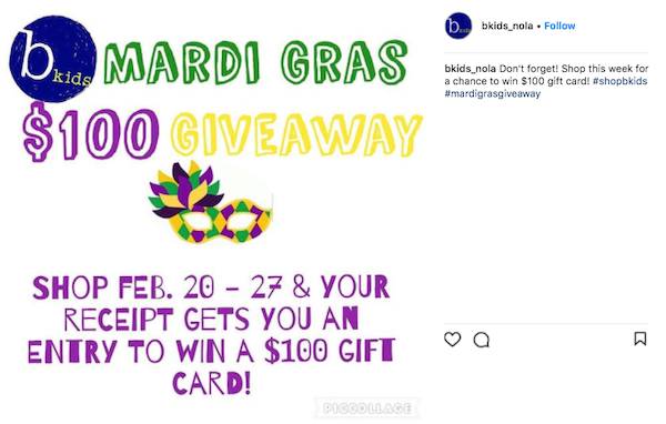 february marketing ideas mardi gras giveaway 3