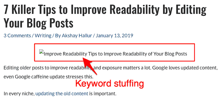 example of keyword stuffing in alt text