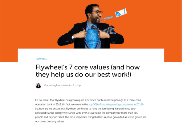 flywheel blog post about their own company core values